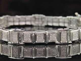 MENS WHITE GOLD DIAMOND BRACELET 3.00 CT PAVE BIG LOOK