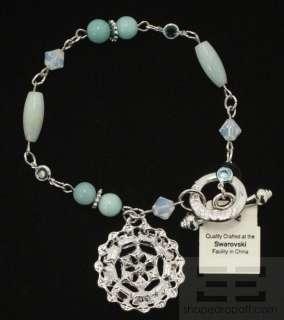 Swarovski Crystal Blue Crystal And Silver Toggle Bracelet NEW