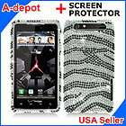 RAZR XT912 Verizon Silver Zebra Bling Hard Case Cover+Screen Film