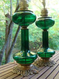 PAUL HANSON FOREST GREEN GLASS BANQUET TABLE LAMPS Mid Century