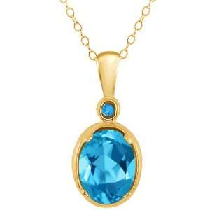 51 Ct Genuine Oval Swiss Blue Topaz Gemstone 10k Yellow Gold Pendant