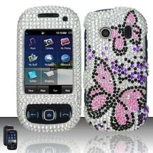 Full diamond pink butterfly design with silver and purple gems for the