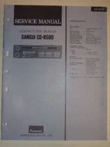 Sansui Service Manual~CD X500 Compact Disc Player