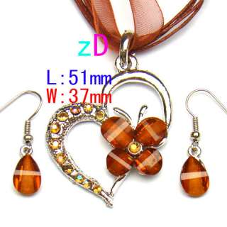 Wedding Heart Shape Gemstone Butterfly Necklace Pendant Earrings Pop