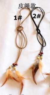 Fashion Indian BOHO Vacation Feather Leather Headband Hair Band / Belt