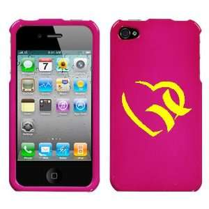 APPLE IPHONE 4 4G YELLOW HURLEY HEART ON A PINK HARD CASE