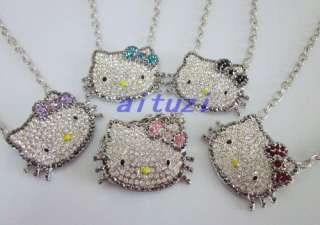 cute Hello kitty multi color bow crystal 5 necklace mixed color xmas