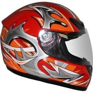 Medium DOT Red Full Face Street Motorcycle Helmet