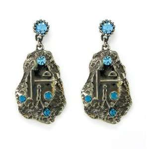Perfect Gift   High Quality Ethnic Flair Earrings with Blue Swarovski