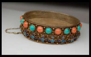 VINTAGE CHINESE GOLD GILT SILVER TURQUOISE CORAL BLUE FILIGREE ENAMEL