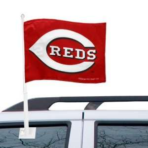 MLB Cincinnati Reds 11 x 15 Red Car Flag Sports
