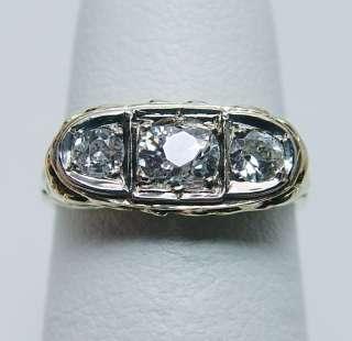 Antique Old European Diamond 3 Stone Ring 14K Gold Estate Jewelry
