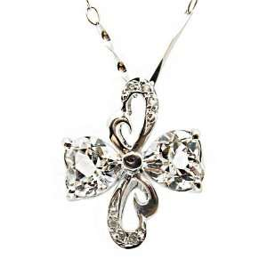 925 Silver Natural White Swarovski Crystal Heart Shaped Four Leaf