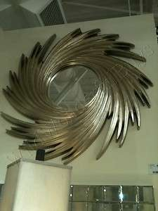 Modern Silver SWIRL Whirl Wind ROUND WALL MIRROR Large