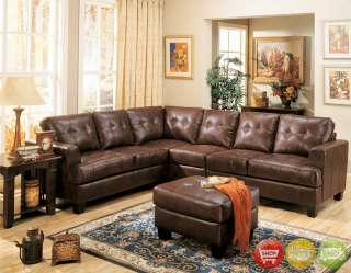 Samuel Contemporary Brown Tufted Leather Sectional Sofa