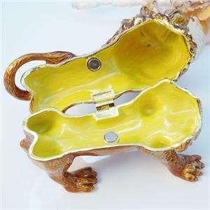 Lion Leo Animal Jewelry Trinket Box Swarovski Crystal Brown Enamel