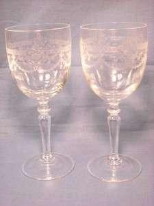 VINTAGE DEPRESSION GLASS PEDESTAL CLEAR ETCHED WINE GLASS SCROLLS 6