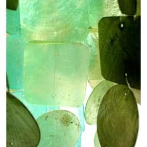 Zen Zen Garden Capiz Shell Wind Chime  Turquoise And Green