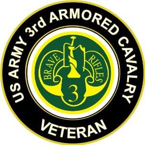 3.8 US Army 3rd Armored Cavalry Veteran Decal Sticker