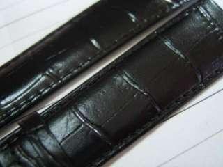 VINTAGE NOS MENS MOVADO 18X16MM BLACK LEATHER STRAP BAND