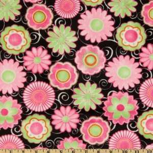 60 Wide Kaufman Minky Cuddle Posey Party Hot Pink/Lime