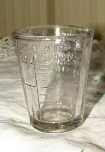 Vintage Glass Tablespoon Teaspoon Glass Measuring Cup Shot Glass
