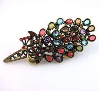 Retro Gold Multi colored Peacock Pendant Short Necklace