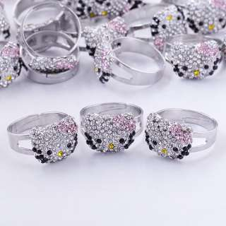 Wholesale Lovely Pink Bow Hello Kitty Crystal Adjustable Finger Rings
