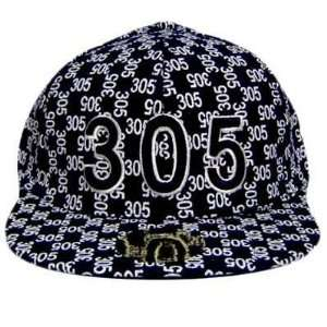 MIAMI 305 NAVY WHITE FLAT BILL FITTED CAP HAT X LARGE