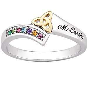 Sterling Silver Two Tone Birthstone Trinity Family Name Ring Jewelry