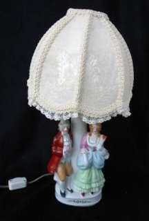 vintage lamp table bed porcelain china figurine figural man lady