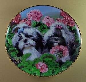 GARDEN PARTY Plate SHIH TZU TZUS Dog Puppy Simon Mendez