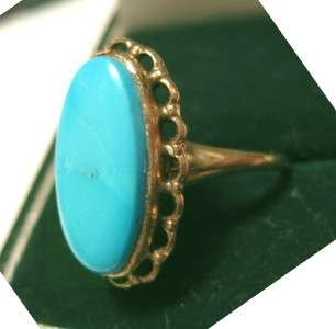 1930s 10K SCALLOPED YEL GOLD 5ct SLEEPING BEAUTY TURQUOISE RING