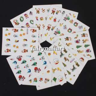 11pcs Christmas Santa Theme Nail Art Sticker Decal Tattoo Card New