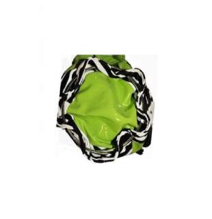 Lime Green Patent Leather Zebra Flower Rhinestone Center Handbag Purse