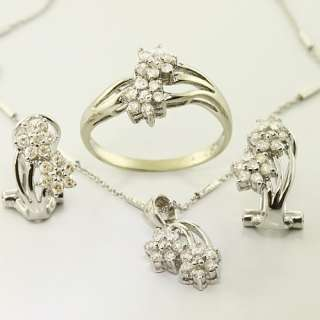 Flower 14K White Gold Diamond Earring Ring Necklace Set