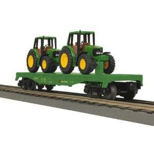 O 27 Flat w/2 6420 Tractors, John Deere Toys & Games