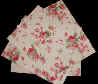 FLOWERSHED Roses Reversible Placemats Pinks Grns Beige NIP
