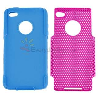 Hybrid Blue Pink Plastic Hard Case Cover+LCD Guard For iPhone 4 4G Gen