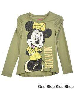 MINNIE MOUSE 7 8 10 12 14 Girls Long Sleeve Top SHIRT Disney ARMY