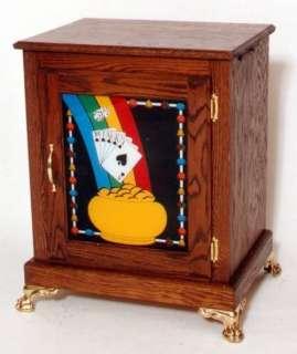 Oak WIDE Electric USA Slot Machine Stand POT of GOLD