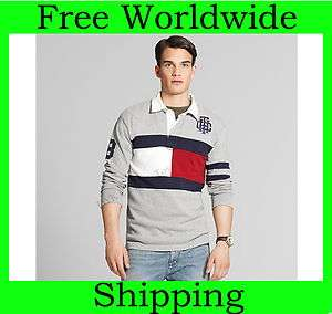 NEW TOMMY HILFIGER MENS FLAG RUGBY POLO SHIRT LONG SLEEVE
