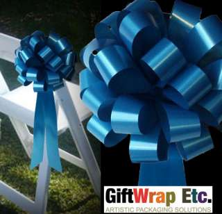10 TURQUOISE PULL BOWS WEDDING SHOWER PEW DECORATIONS