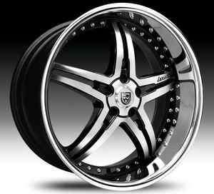 20 Lexani LX 15 Wheel SET 20x8.5 Black Machined & Chrome Lip LEXANI
