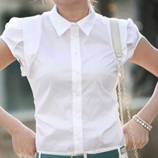 New Womens Clothes White Short Puff Sleeve Top Shirt Blouse XS S