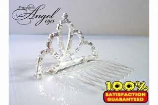 New Tiara Wedding Circular Rhinestone Crown Comb Hair Mini Clip Bridal