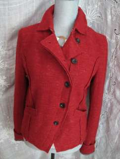 Free People Wool Linen Red Jacket Blazer Coat Top