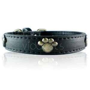 13 16 black Leather Paw Dog Collar Small Medium