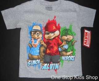 CHIPMUNKS Boys 4 5 6 7 8 10 12 Short Sleeve SHIRT Tee Top Simon
