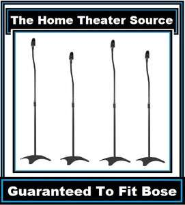 Pair)4 Black Surround Sound Audio Speaker Stand Fit Bose Home Theater